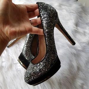 Vince camuto black silver glitter sparkles heels